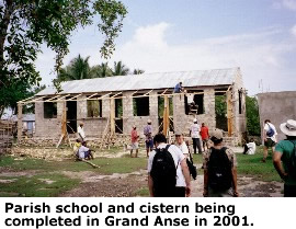 Parish school and cistern being completed in Gand Anse